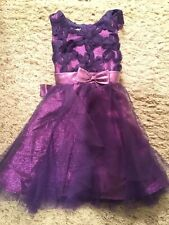 NWT Jessica Ann Girl's Sleeveless Purple Tulle Floral Bodice Sash Dress Size 2T