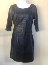 mark By Avon Womens Hit the Spots Dress Blue Black Size Small 3/4 Sleeve