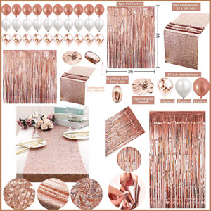 Juego de 34 piezas de decoración de fiesta de oro rosa, camino de mesa, cortina