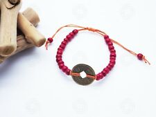 Red Feng Shui Bracelet Bali Talisman Good Luck Chinese Coin Yoga Amulet Hand
