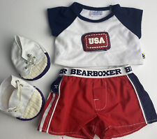 Build A Bear Usa Bearboxer Boxer Shorts Underwear Shoes Red White Blue 3 Pc Set