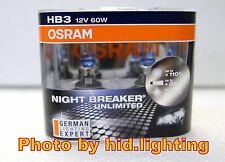 OSRAM HB3 9005 +110% Night Breaker Unlimited Headlight Beam Bulb Globe Light 60W