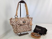 Auth Coach Op Art Handbag Shoulder Bag 2 way beige 7B090090U