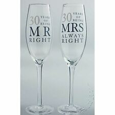30th Wedding Anniversary Mr & Mrs Right Champagne Glasses Gift Set WG80630