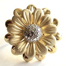 Diamond Accent Flower Ring 14K Yellow Gold Vermeil Over Sterling Sz 7 Daisy
