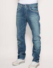 Men`s New JACK & JONES Twisted Leg Jeans W30-L30 Engineered Cinch Back Mid Blue
