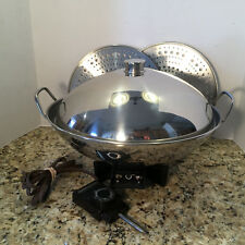 Farberware Model 343A Stainless Steel Electric Wok with 2 Steamer Trays