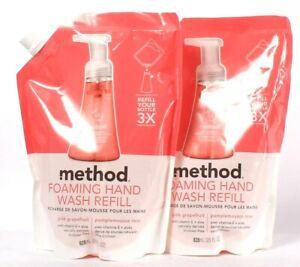 2 Bags Method 28 Oz Pink Grapefruit Foaming Hand Wash Refill Vitamin E & Aloe