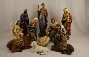11 Pcs Polyresin Christmas Nativity Set In 30cm Height.