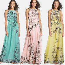 Übergröße Damen Ärmellos Chiffon Floral Lange Maxikleid Partykleid Kleid GR36-48