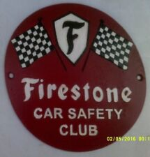 FIRESTONE Heavy Cast Metal SIGN Car Safety Club tyres chequered flag (cm)