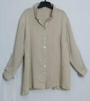 Fridaze Oatmeal Beige Lagenlook Long Sleeve Button Down Linen Jacket Top Size 0X