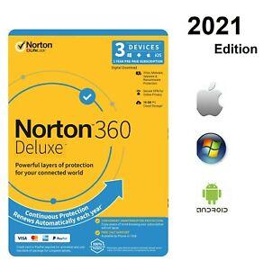 ANTIVIRUS NORTON 360 DELUXE Internet Security 2021 3 Devices 3 PC MAC Global