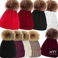Womens Ladies Winter Knitted Beanie Ski Turn Up Bobble Hat Faux Fur Pom Pom