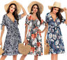 Women's Summer Short Sleeves V neck Print Floral Lace Up Short Maxi Beach Dress