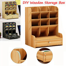 DIY Wooden Desk Organizer Stationary Storage Box Pen Pencil Holder with Drawer