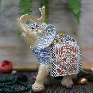 Brand New Ancient Wisdom Thai Elephant-Good Luck-Terracotta/Sky Blue Ornament