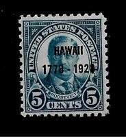 US  1928 SC# 648  5 c Theodore Roosevelt HAWAII MINT NH - Vivid Color -Centered