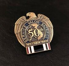Vietnam War 50th Anniversary Pow Mia Lapel Pin Medal Ribbon Veteran Vet Black Us