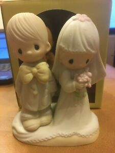 "Vintage Precious Moments Porcelain Bisque Bride and Groom Cake Topper 5"" Tall"