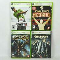 Xbox 360 4 Game Lot Tiger Woods PGA Tour 09 Don King Boxing Bioshock Eragon