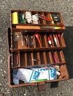 VINTAGE FISHING TACKLE BOX with TACKLE Wood Float Wood Bobber Old Fishing Gear