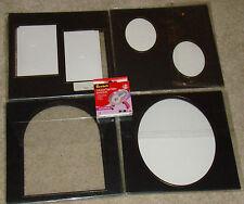 "LOT 41 Black w/ Gold Trim Photo Mats & 1 Roll Scotch Acid-Free 1/4"" Photo Tape"