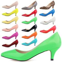 Women's Low Mid Kitten Heels Wedding Work Patent Leather Pointed Toe Pumps Shoes