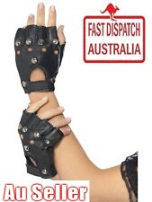Studded Fingerless Black Gloves Punk Biker 80s Gothic Fancy Dress Faux Leather