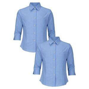 2 x Top Class Sky Blue Girls Quality 3/4 Sleeve Blouse School Shirts  5-6 Years