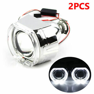 """2.5"""" Bi-xenon Projector Lens LED Devil Eyes Red Shrouds with LED Angel Eyes"""