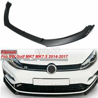 Front Bumper Lip Body Kit Spoiler Matte Black For VW Golf MK7 MK7.5 2014-2017