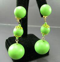 Vintage HONG KONG Clip-On Earrings GREEN BALL DROP DANGLES Yellow Trim GOLD TONE