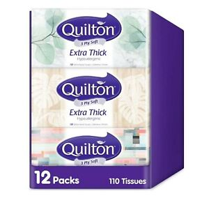 12x [Best Brand] Quilton 3 Ply Facial Box Tissues Bulk Tissue Boxes Thick White