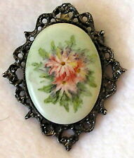 Vintage painted oval floral Silver tone filigree setting Pin Brooch Pendant