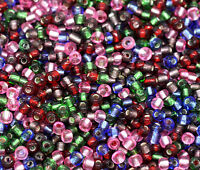 30g x 3mm Mixed Colour Silver Lined Glass Seed Beads Beading 8/0 size Craft T101