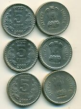3 DIFFERENT 5 RUPEE COINS from INDIA - ALL 2000 w/ MINT MARKS of B, N & R