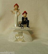 Wedding Party Reception Fireman Firewoman Firefighter AXE Ball Chain Cake Topper
