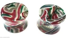 "PAIR-Marble Green/Purple Acrylic Double Flare Plugs 12mm/1/2"" Gauge Body Jewel"