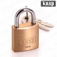Premium Kasp Heavy Duty Padlock 30mm Keyed Alike Solid Brass - 120 Series Lock