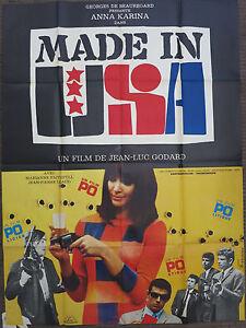 MADE IN USA (1967) Original French Movie Poster JEAN-LUC GODARD Anna Karina