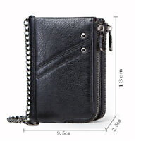 RFID Steel Chain Men's Genuine Leather Double Zipper Wallet Hi-Q Card Holder