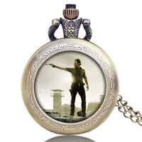 The Walking Dead Rick Popular Movie Cosplay Pocket Watch Necklace Pendant Chain