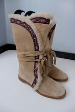 Jimmy Choo Womens Boots, Eu37 Uk 4, Beige Suede, Fur Lined, Immaculate