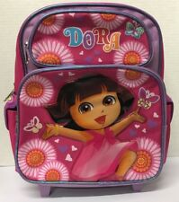 """DORA THE EXPLORER TODDLER ROLLING BACKPACK! PINK DAISY SMALL ROLLER BAG 12"""" NWT"""