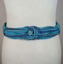 Vtg 80's 90's Big Blue Braided Women's Ugly Retro Rope Cord Cinch Belt Rebecca's
