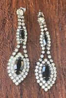 Vintage Rhinestone & Black Crystal Dangle Earrings