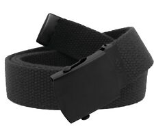 Men's Military Black Slider Buckle with Canvas Web Belt Hypoallergenic
