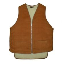 Vintage Canadian Caribou Faux Shearling Work Vest Mens size XL Brown Canada Made