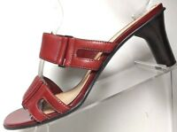 Anne Klein Womens Red Leather Dress Sandals Slip On Designer Heels 9 M